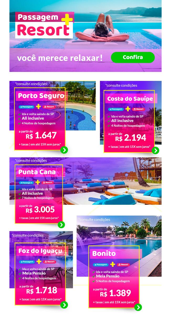 Pacotes com Resorts garanta as ofertas especiais